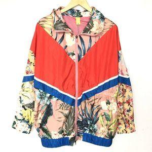 Farm Rio Floral Windbreaker Jacket Women's M